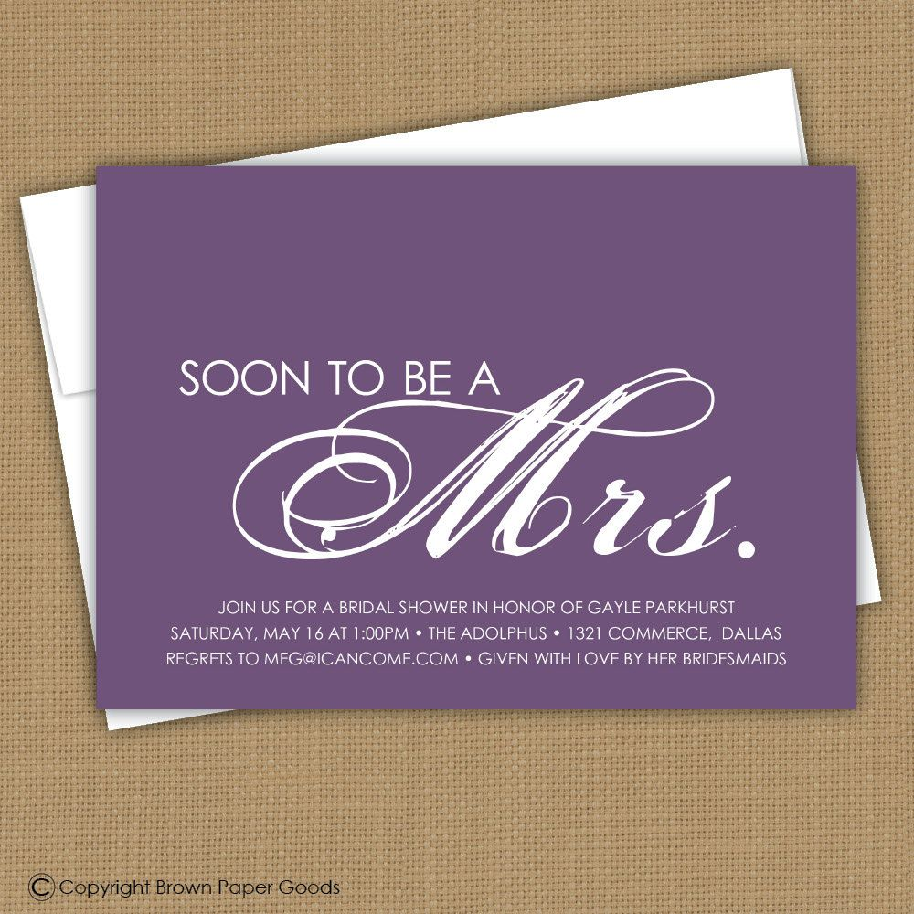 Bridal Shower Invitation. Printable (Soon to be a Mrs.) Wedding Shower invitation.