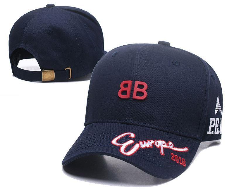 a9f77149 Men's / Women's Balenciaga BB Rubber Logo Europe 2018 Curved Dad Hat - Navy  (Copy Ori)