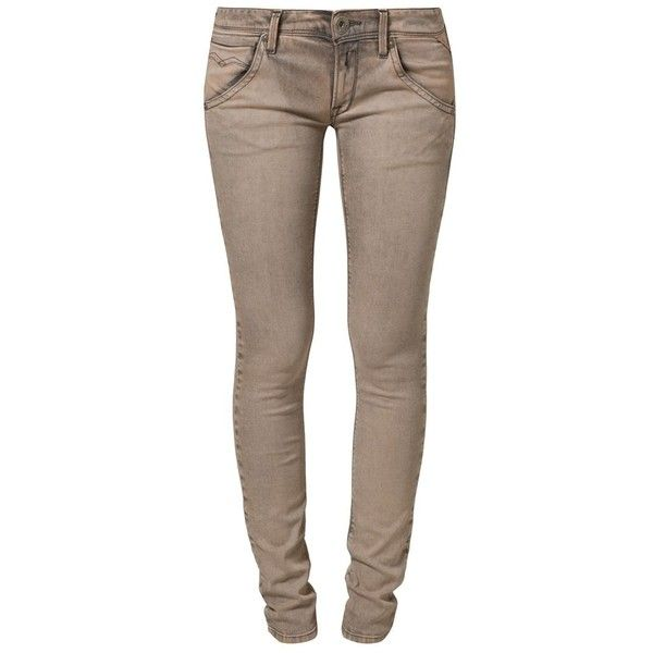 Replay SUZANNA SKINNY Slim fit jeans gold (305 BRL) ❤ liked on Polyvore featuring jeans, pants, bottoms, 14. pants., calças, brown, skinny jeans, replay jeans, brown jeans and super skinny jeans