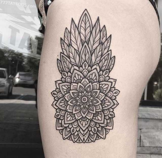 Mandala pineapple tattoo inked on the left thigh/hip by Kelly Kill Again #pinappletattoo