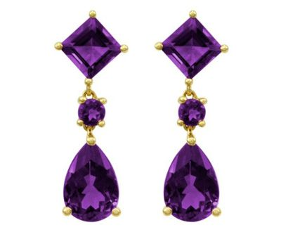 14k Gold Amethyst Pear And Square Shaped Dangle Earrings Http