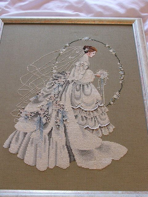 March Bride~counted cross stitch pattern #411~Vintage Brides Victorian Chart