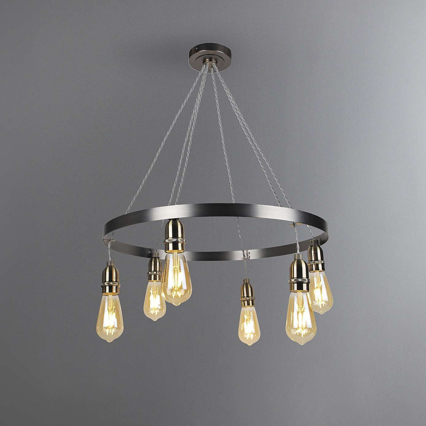 Marsden Industrial 6 Light Hoop Antique Brass Ceiling Fitting Light Fittings Living Room Kitchen Light Fittings Ceiling Lights