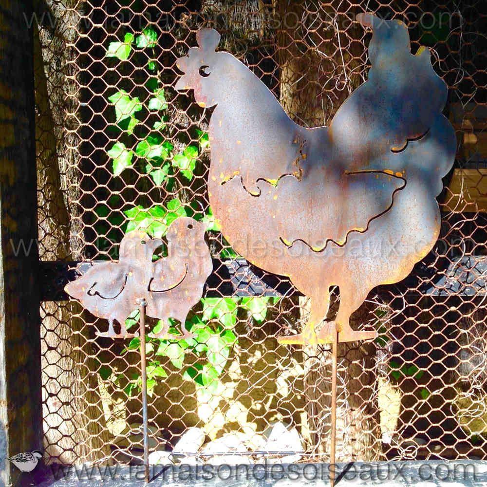 belle poule silhouette en metal patine rouille chicken deco poule pinterest rouille poule. Black Bedroom Furniture Sets. Home Design Ideas