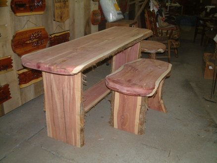 Astonishing Beautiful Live Edge Red Cedar Table And Benches New House Ncnpc Chair Design For Home Ncnpcorg
