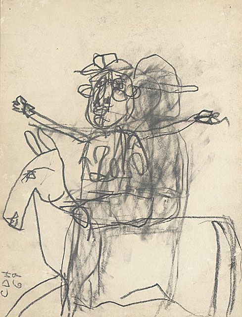 Carlos Almaraz (Mexico, 1941 - 1989)  Horse and Rider, 1969  Drawing, Graphite, Sheet: 12 x 9 in. (30.48 x 22.86 cm)  Gift of Elsa Flores Almaraz and Maya Almaraz (M.91.370.11)  Prints and Drawings Department. LACMA