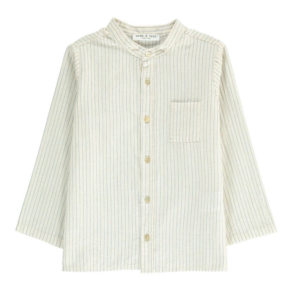Striped Mandarin Collar Shirt Babe & Tess Children- A large selection of Fashion on Smallable, the Family Concept Store - More than 600 brands.