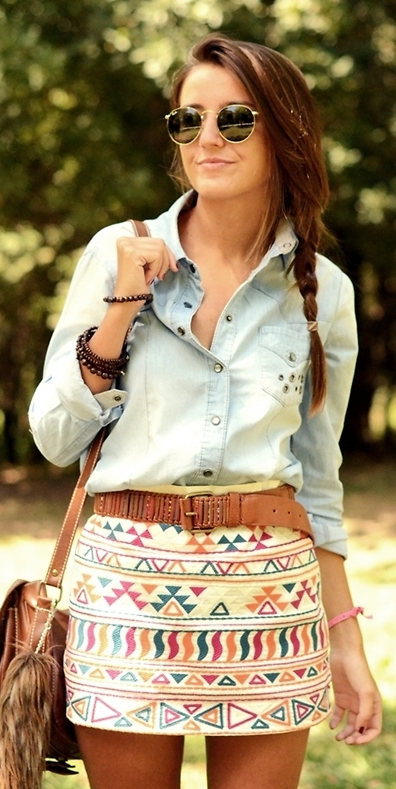 loving the skirt with jean shirt