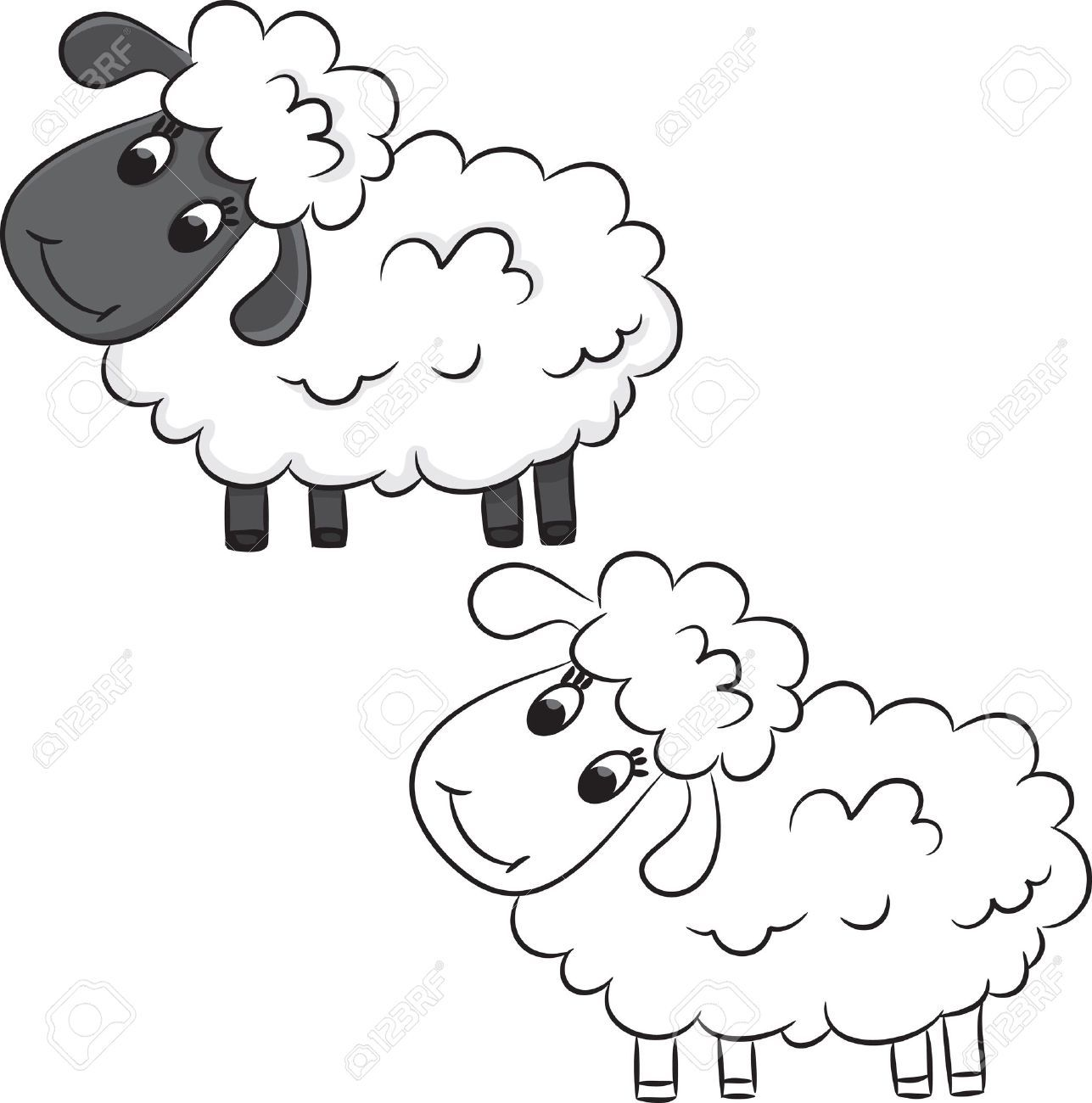 coloring pictures sheep : Cartoon Sheep Coloring Book Royalty Free Cliparts Vectors And Stock Illustration