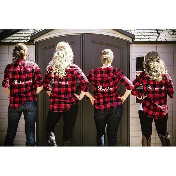 bride and bridesmaid matching plaid flannel shirts