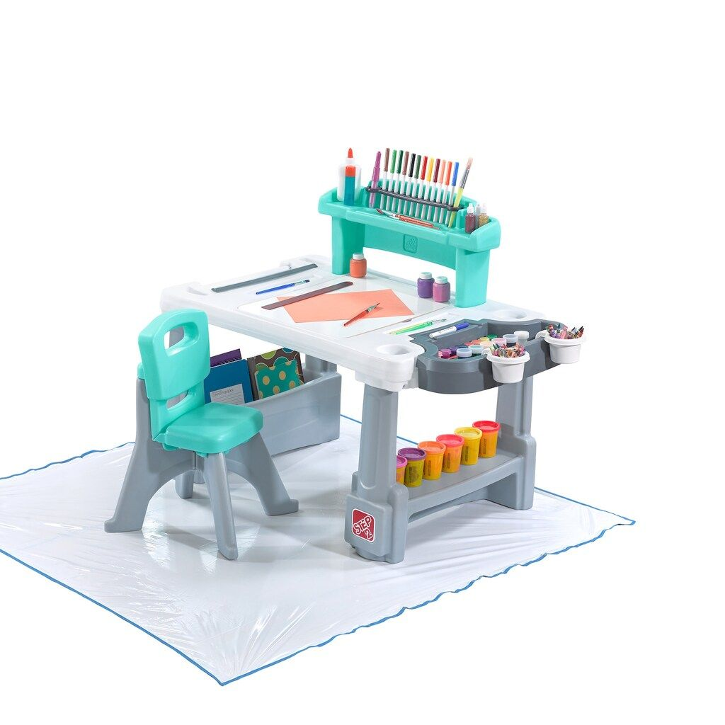 Step 2 Deluxe Creative Projects Kids Art Desk With Splat Mat
