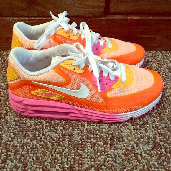 Hot pink and orange Nike air max lunar
