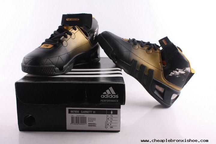 half off how to buy sleek Adidas shoes Kevin Garnett VI Basketball shoes Black Gold Cheap ...