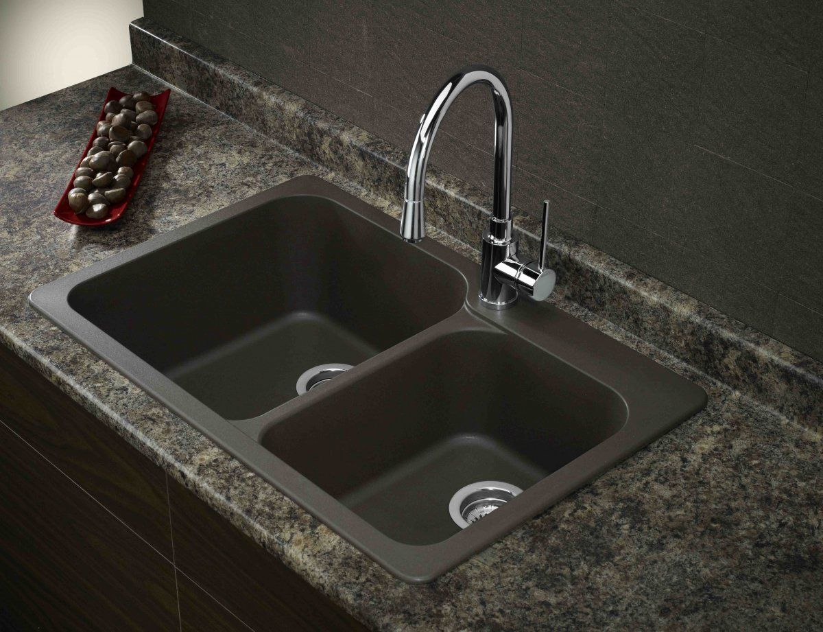 ordinary How To Clean Black Granite Composite Kitchen Sink #6: blank sink with stainless steel faucet - Google Search. Drop In Kitchen  SinkGranite ...