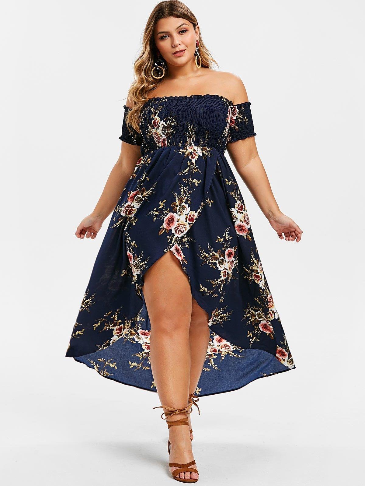 Angie | Floral Smocked Sleeveless Maxi Dress (Plus Size) | HauteLook