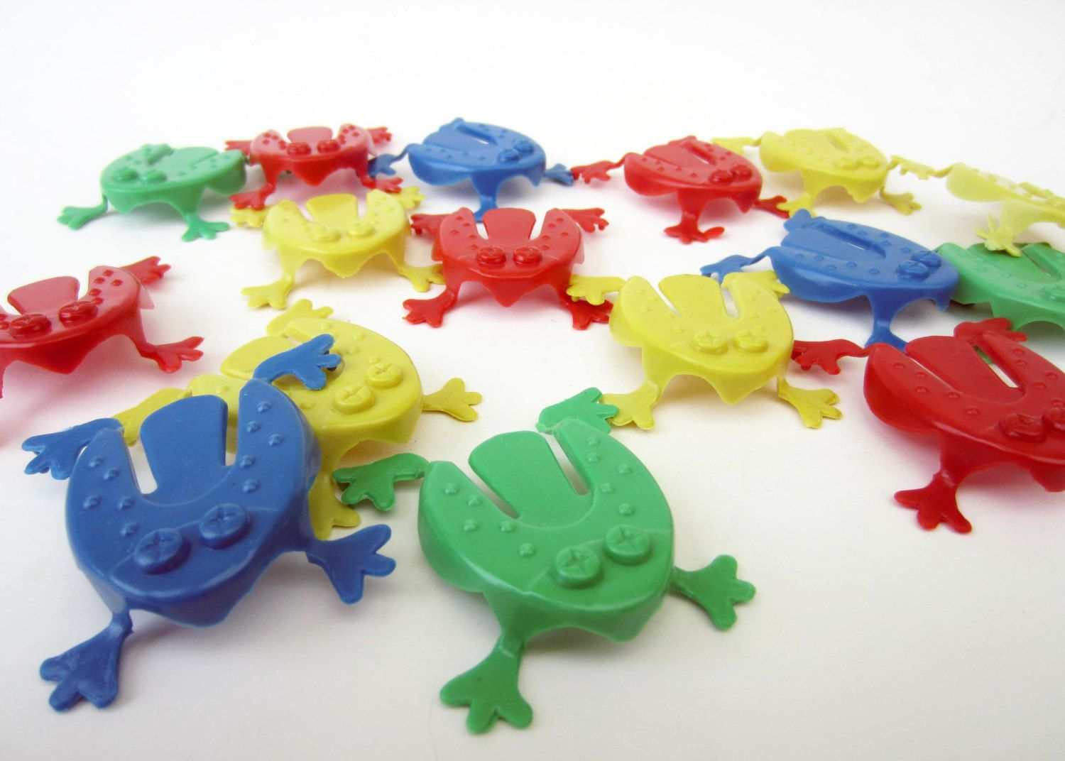 1990s tiny jumping FROGS⎮funky game piece⎮colorful plastic