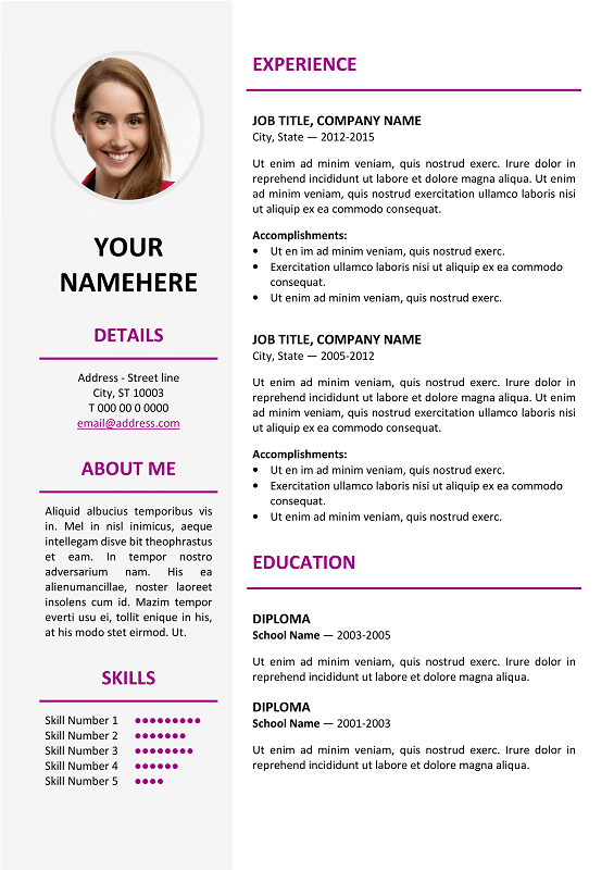 Ikebukuro Free Elegant Resume Template Purple For Ms Word