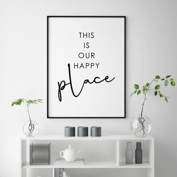 This Is Our Happy Place Print Love Couple Bedroom Decor Love Quote Print Couples Wall Art Bedroom Poster Guest Room Decor Couple Print Family Room Wall Decor Bedroom Decor For Couples