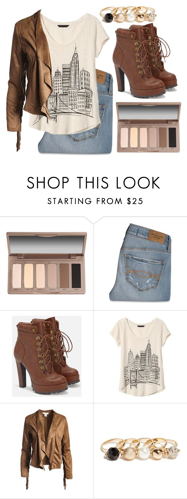 """""""Fall outfit"""" by shelbyvengeance ❤ liked on Polyvore featuring Urban Decay, Abercrombie & Fitch, JustFab, Banana Republic, Sans Souci and GUESS"""