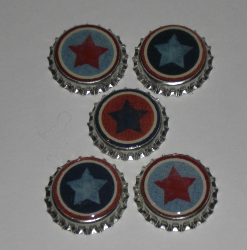 5 Americana Patriotic USA July 4 STAR Bottle Caps Scrapbooking Party Decor #AmericanaStar