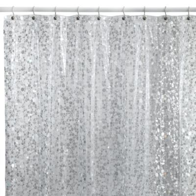 white and silver shower curtain. Add shimmer to your decor with this stylish Pebbles shower curtain  It features an allover Shower Curtain in Clear Vinyl curtains Bath and