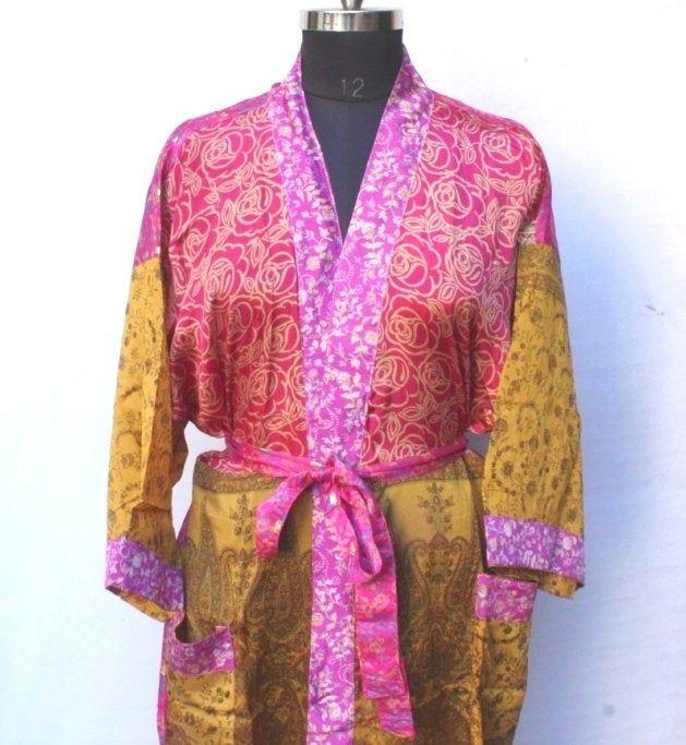 Photo of Vintage sari kimono, Bridal kimono dress, Recycled kimono, Beach wear robe, Saree kimono, High-quality Lingeries, Wedding kimono #MK 1001