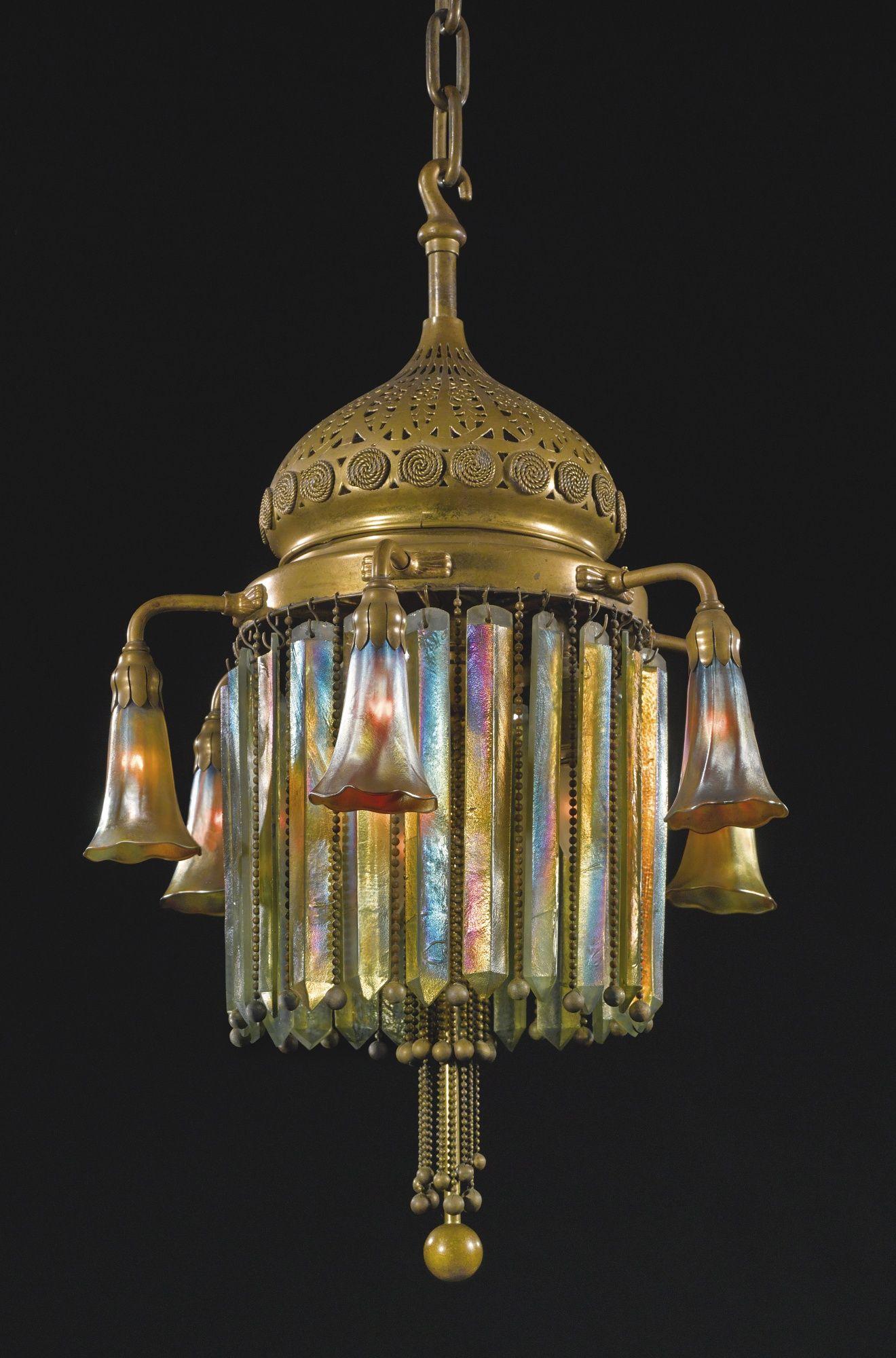 Tiffany Studios New York Six Light Prism Chandelier
