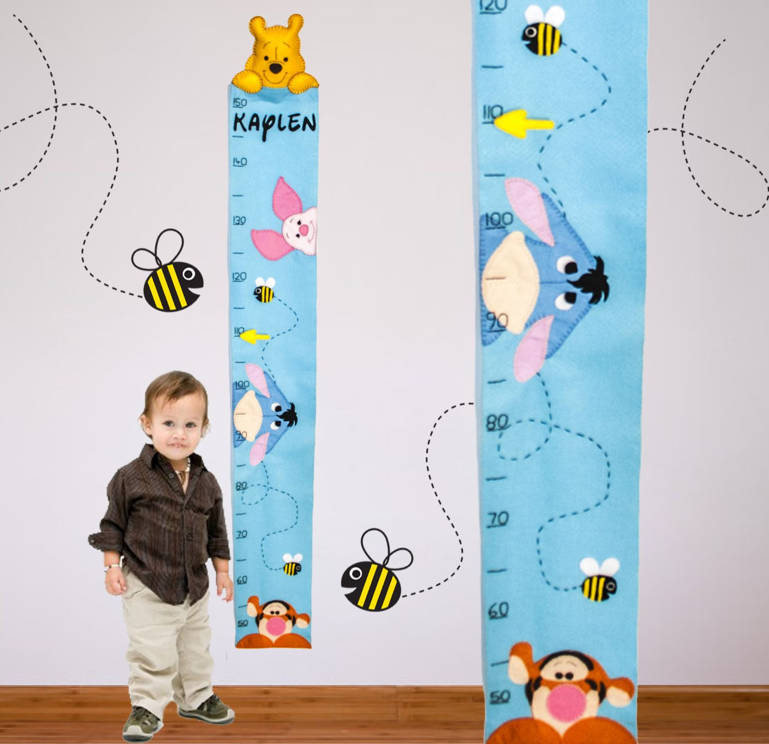 Winnie the Pooh Growth Chart - www.felt-creations.com #feltcreations