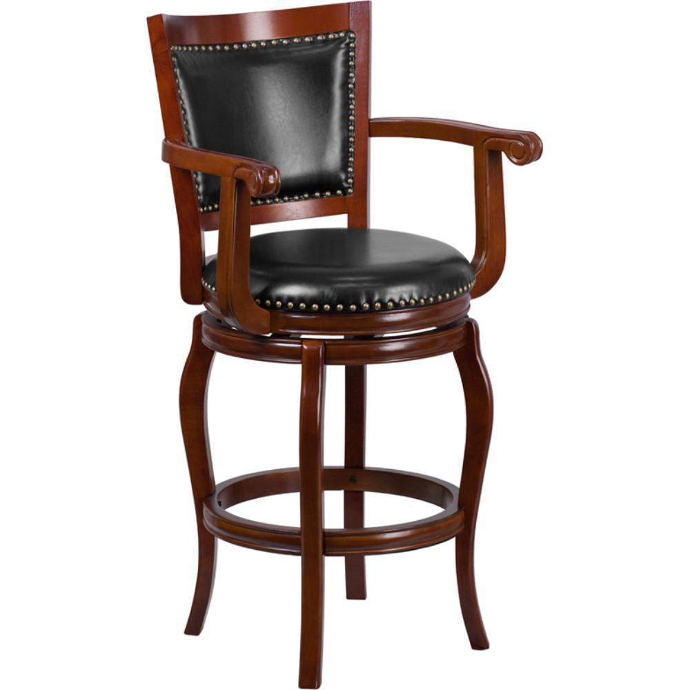 30 High Cherry Wood Barstool With Black Leather Swivel Seat Ta