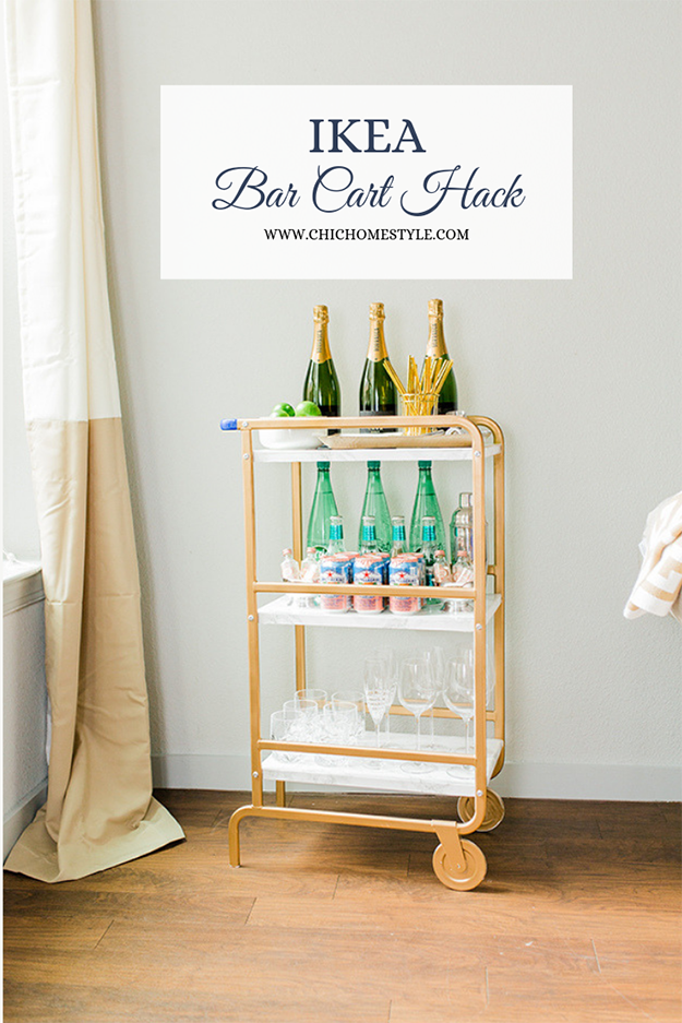Ikea Bar Cart Hack Chic Home Styled Parties Ikea Bar Ikea Bar Cart Bar Cart Hack