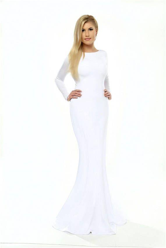 Size bodycon dress long sleeve white nightgown full length yorkton