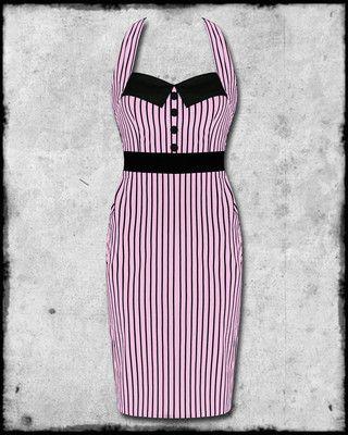 0e421b583c HELL BUNNY PINK BLACK STRIPE MRS JOHNSON 50s ROCKABILLY PINUP PENCIL DRESS  SZ | eBay
