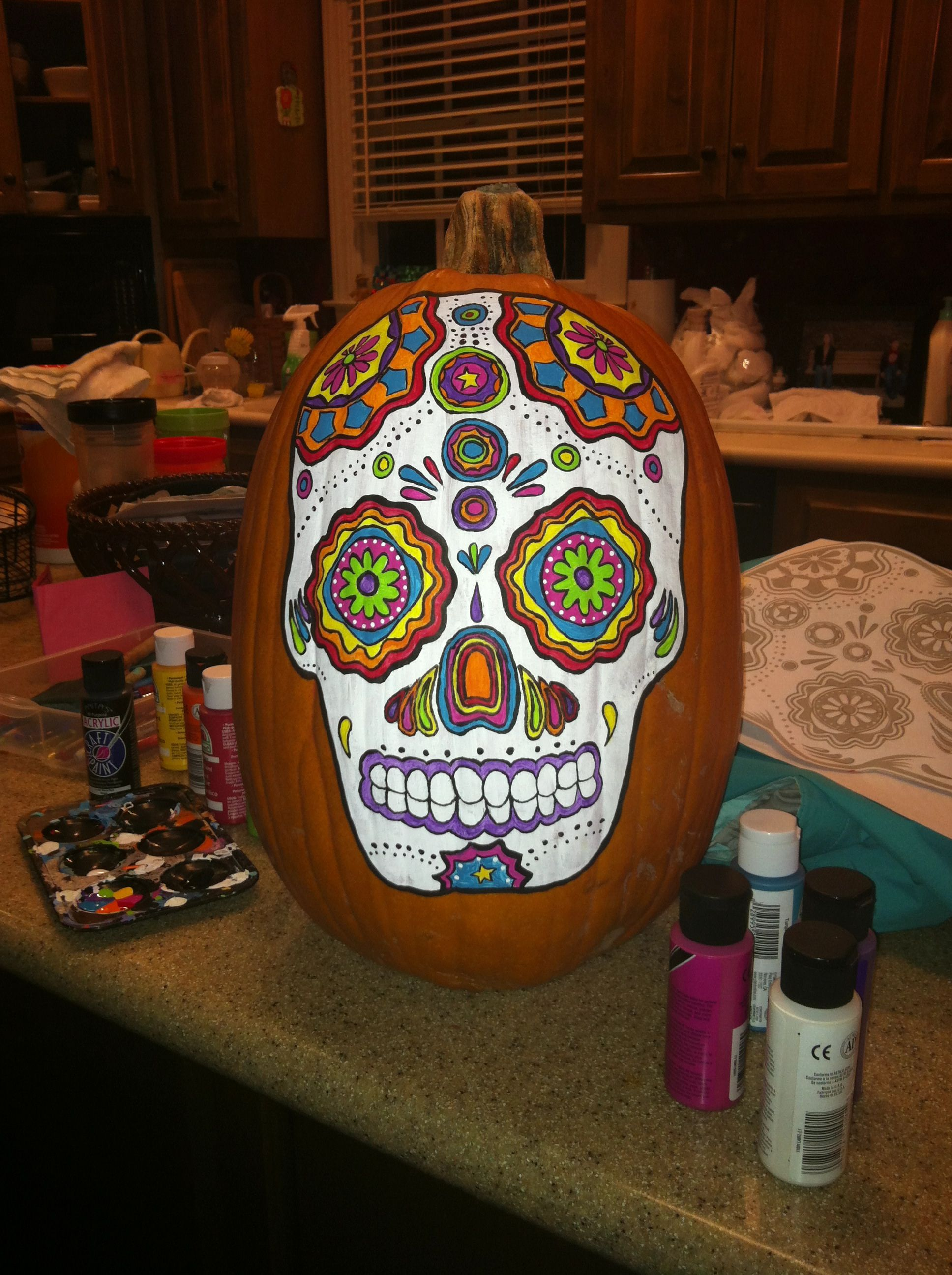 """Sugar skull"" - acrylic on pumpkin | Painted pumpkins ..."