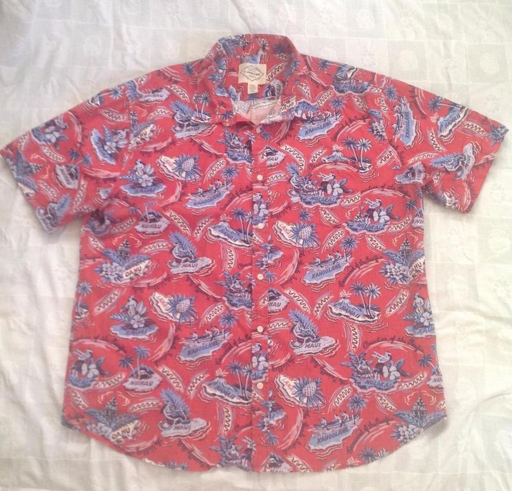 St Johns Bay Island Style Hawaiian Maui Aloha Short Sleeve Shirt XXL Red Cotton #StJohnsBay #Hawaiian