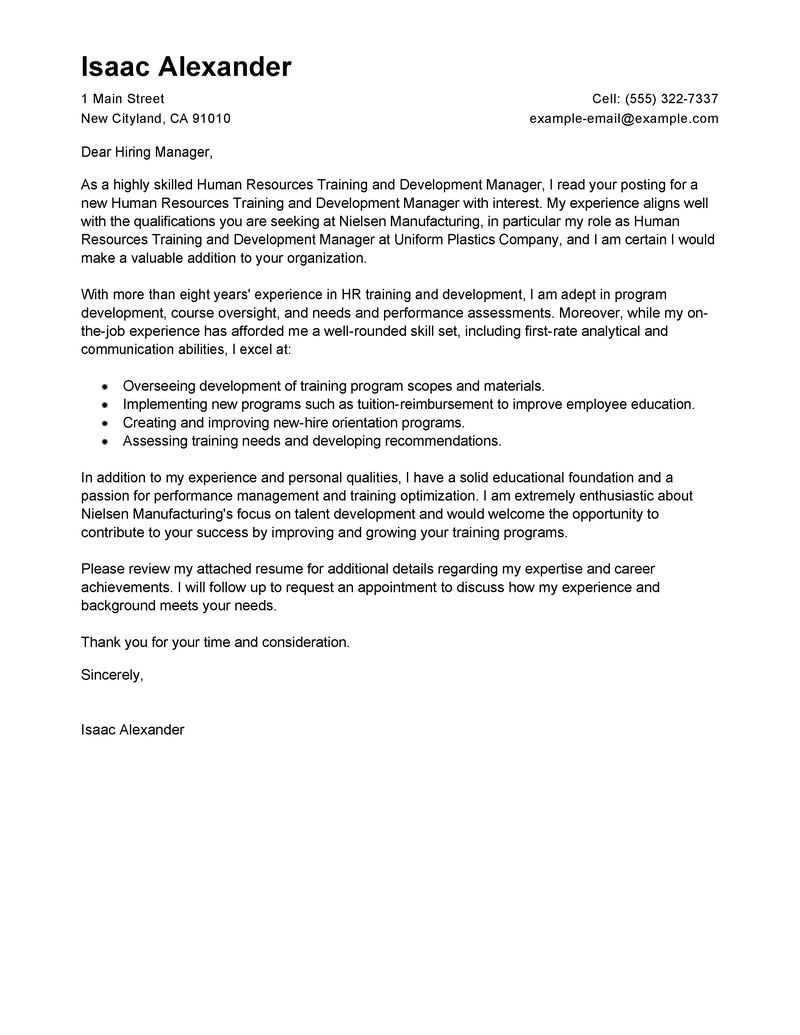 Human Resources Cover Letter Training And Development Cover Letter Examples Human Resources