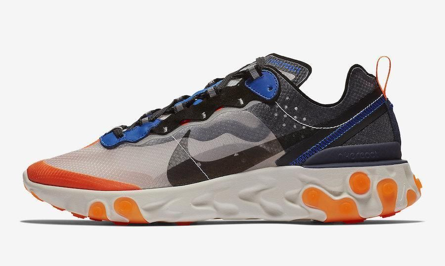 Mens Nike React Element 87 Thunder Blue Total Orange Wolf