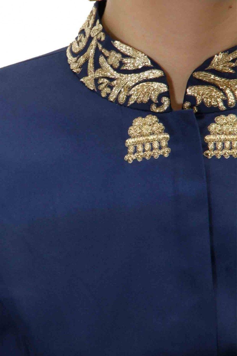 Blue zardosi embroidered A line kurta set with offwhite net dupatta ...