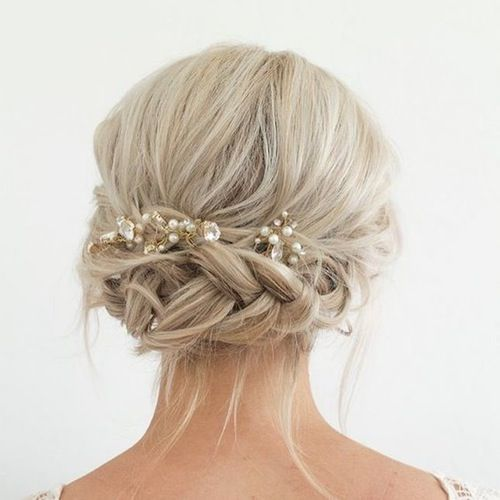 12 Non Cheesy Bridal Party Dos Your Bridesmaids Will Love Beautiful Bridal Hair Short Hair Updo Prom Hairstyles For Short Hair
