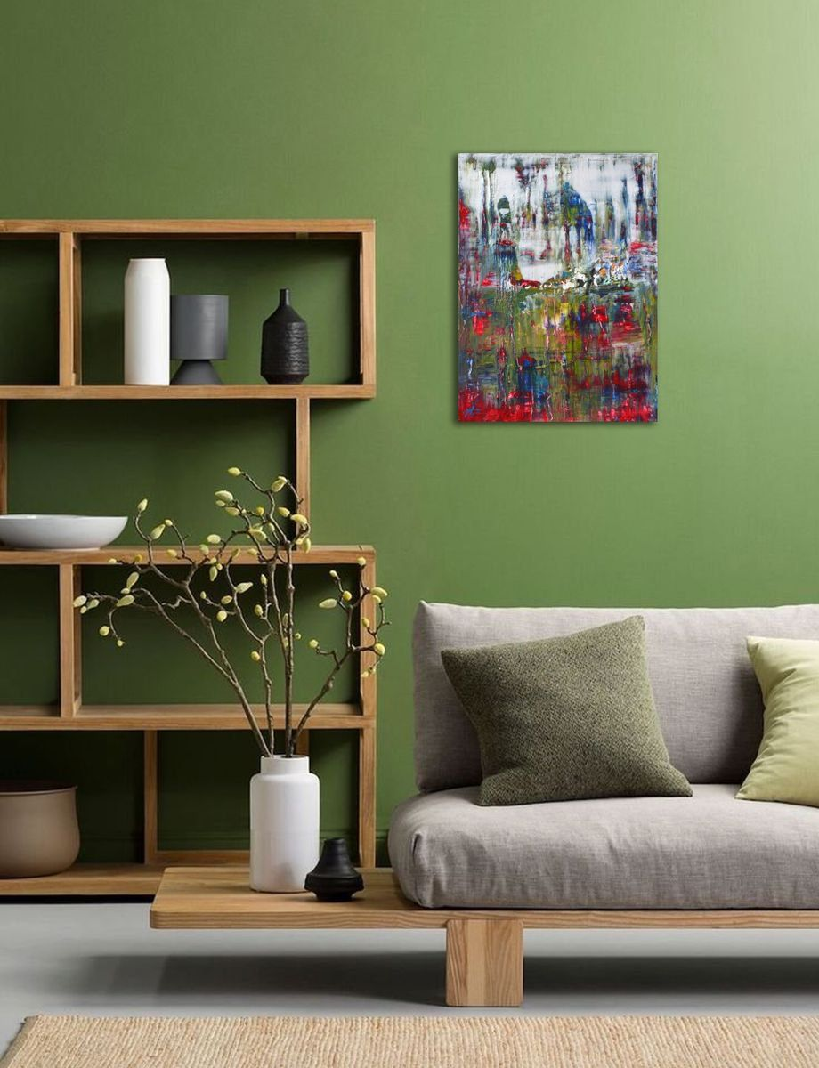 Winter 2018 Mixed Media Painting By Vania Bouwmeester Pentcheva In 2021 Living Room Green Green Furniture Living Room Living Room Colors