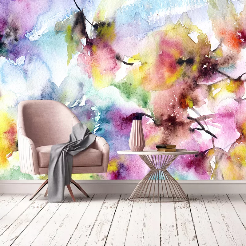 Ebern Designs Butoves Watercolor Floral Abstract 10 L X 100 W Peel And Stick Wall Mural Wayfair Wall Murals Mural Floral Watercolor