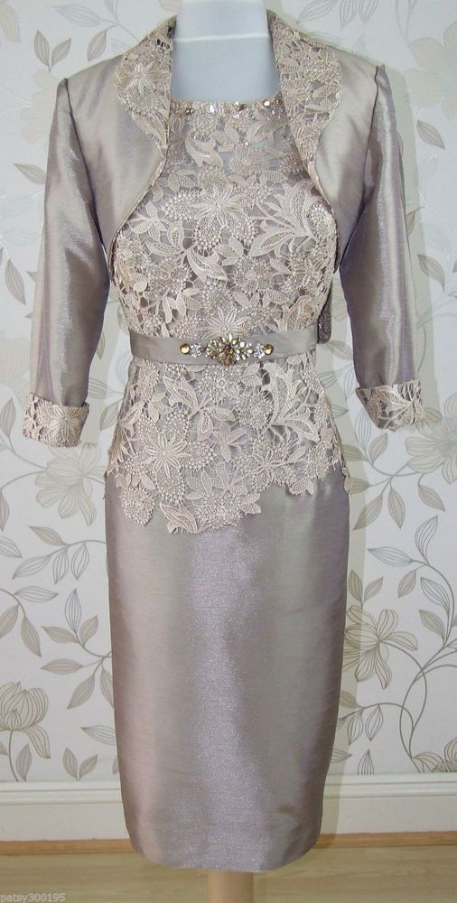 Knee-Length Mother of Bride Races Dress With Jacket Lace Gold Taupe Women  Outfit 69dd580a8932