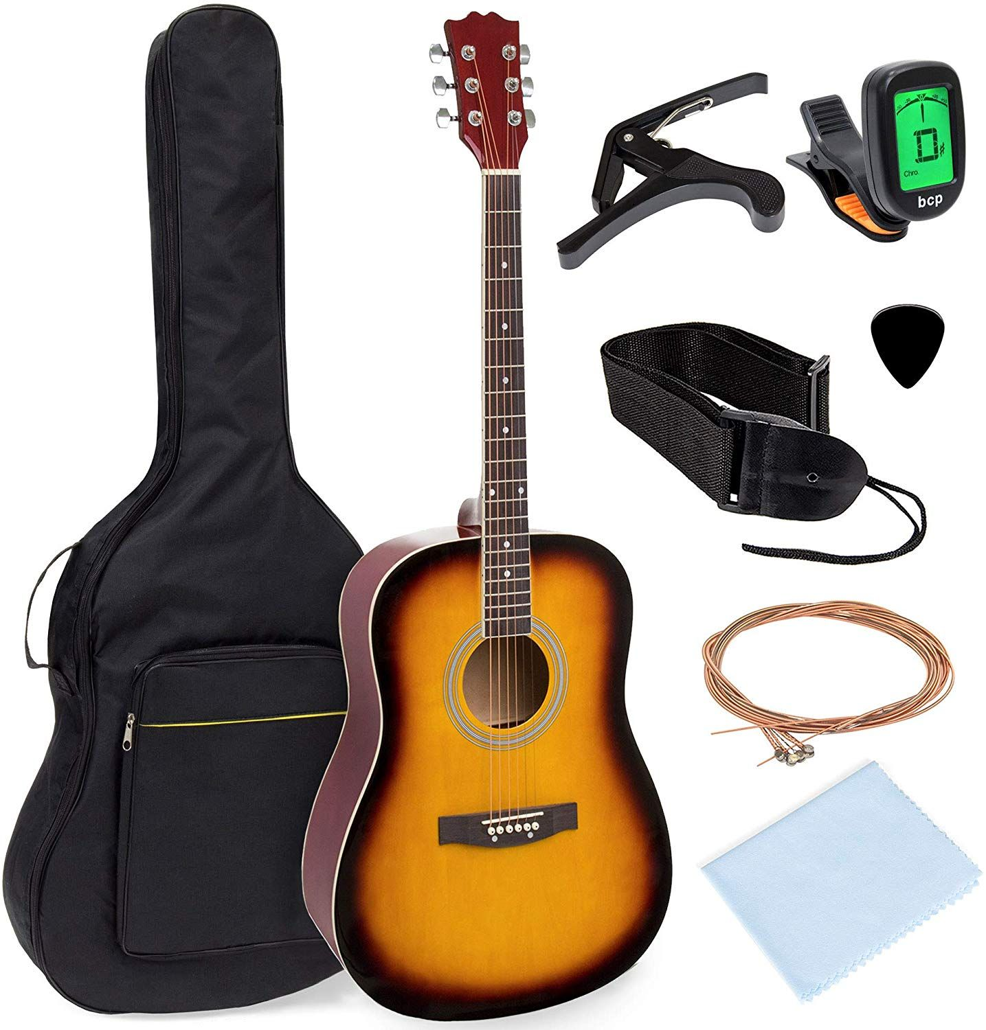 Best Choice Products Guitar 41in Full Size All Wood Acoustic Guitar Starter Kit W Gig Bag Acoustic Guitar Guitar Capos
