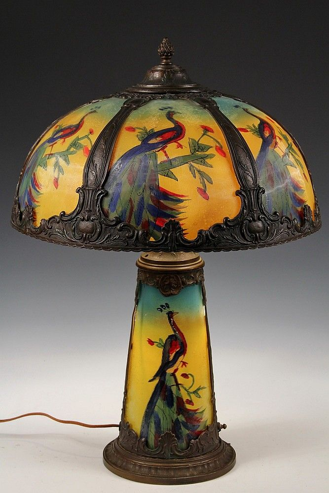 Art Glass Table Lamp Holophane Glass Lamp Decorated With Reverse Painted Peacocks Lighted Base And 6 Panel Domed Shade Have Bronze F Art Glass Lighting Art Glass Table Lamp Art Glass Lamp