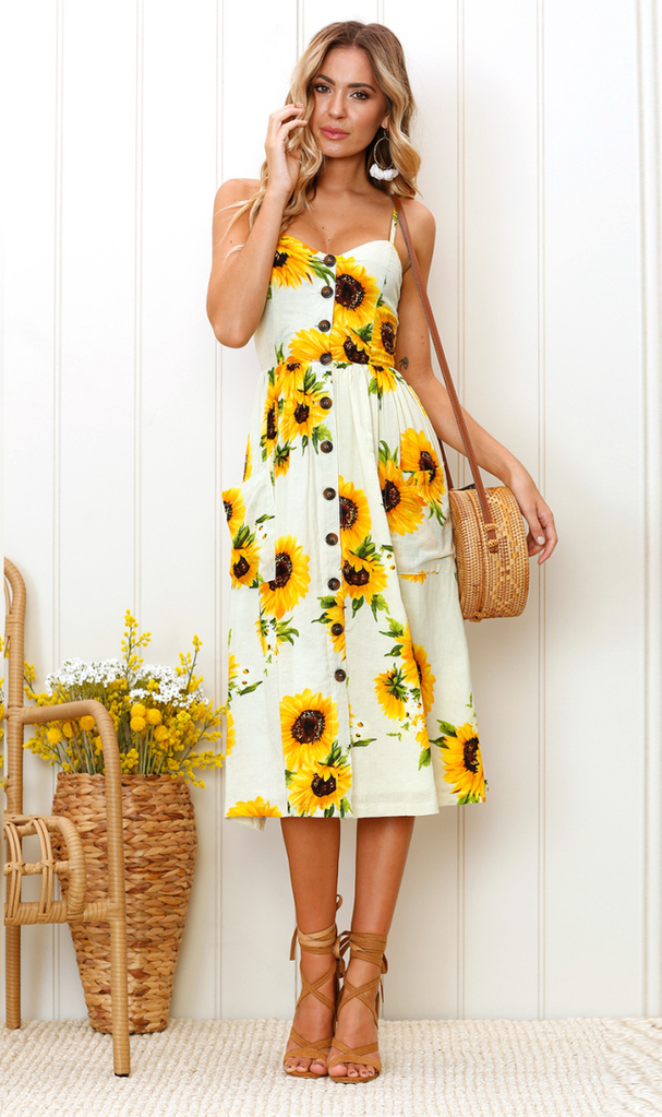 a7f77316acd40 Sunflower Cami Long Dress | Summer Dress | Summer dresses, Dresses ...
