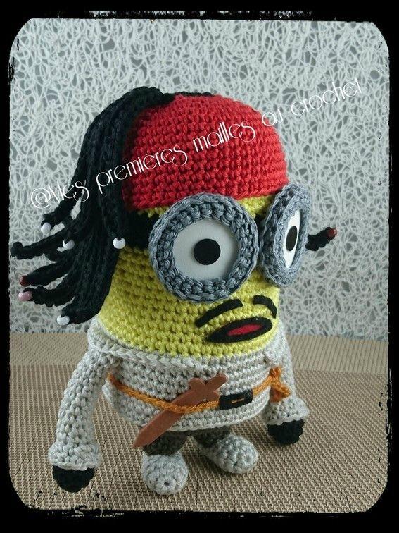 Minion Jack Sparrow - Mes premières mailles au crochet   Pinterest ...
