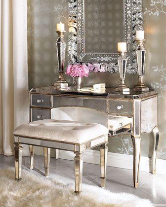 """Claudia"" Mirrored Vanity/Desk & Vanity Seat at Horchow."