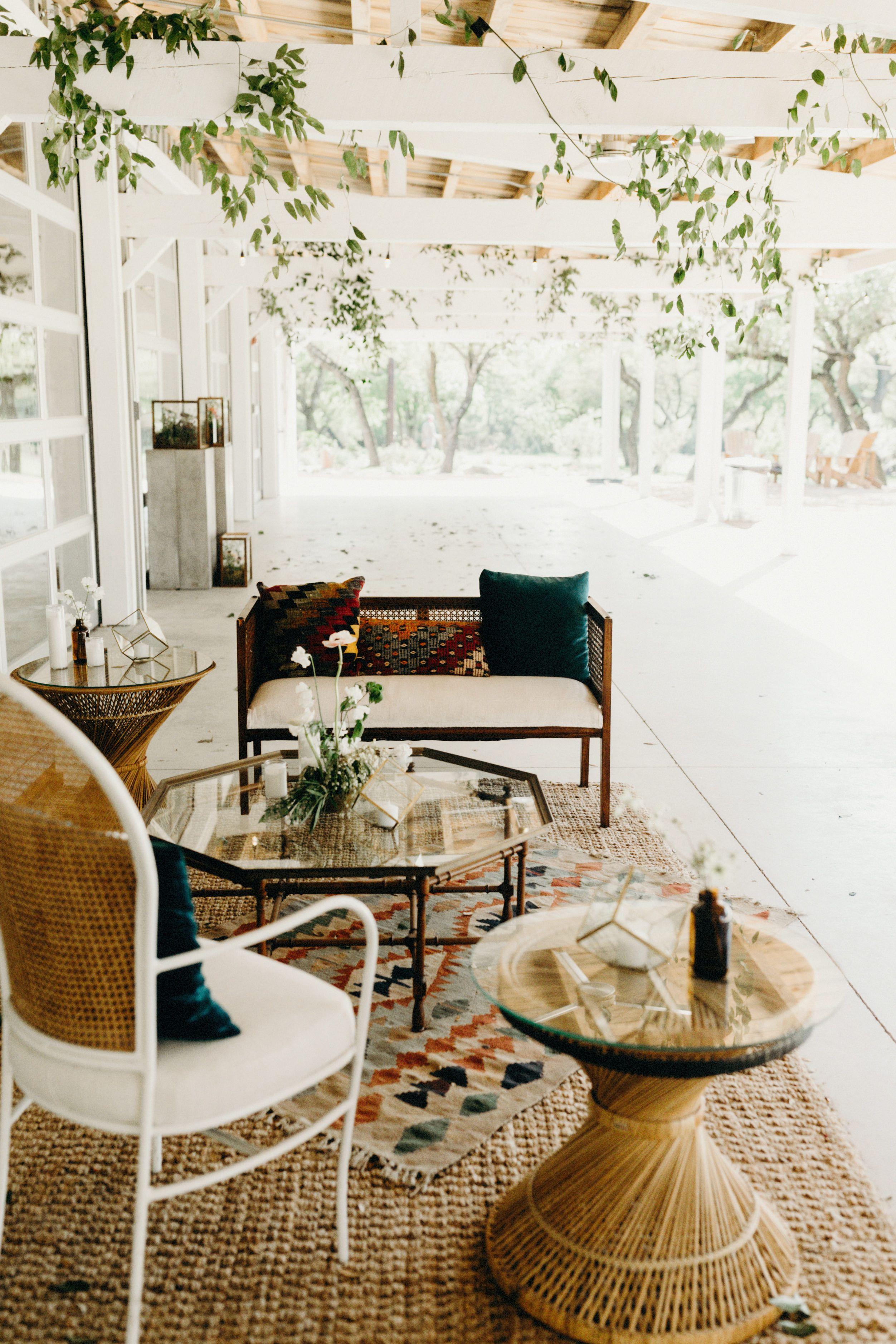 Bohemian Chic Wedding Lounge   Mid Century Modern Furniture   Masculine  Lounge With Feminine Details  