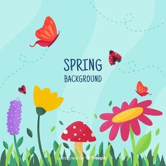 Fondo Primavera Insectos Volando