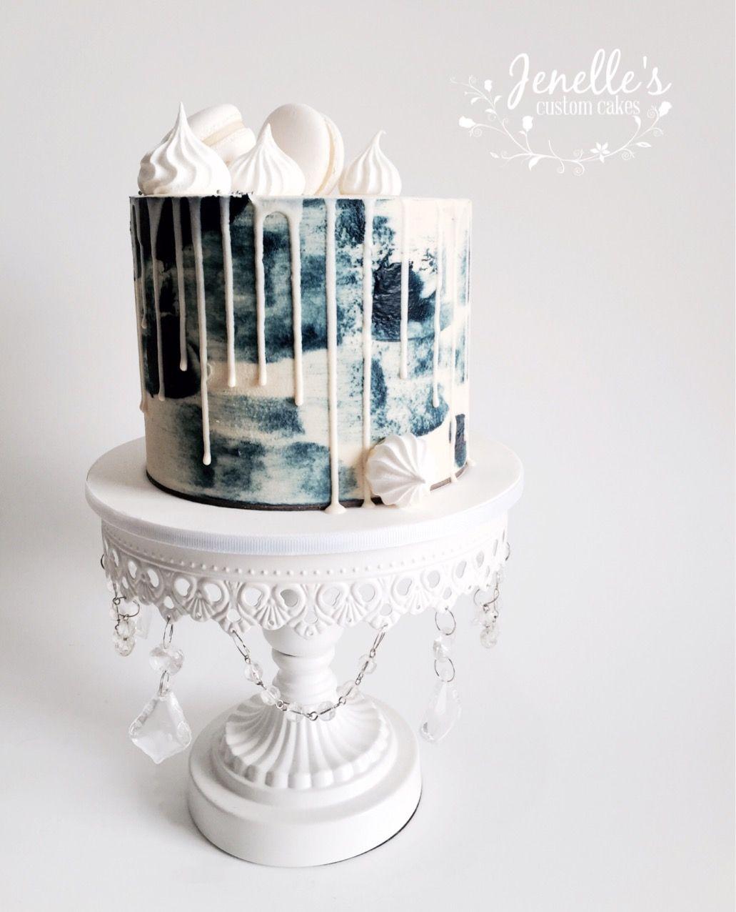 Navy and white drip cake by jenelleus custom cakes Тортики