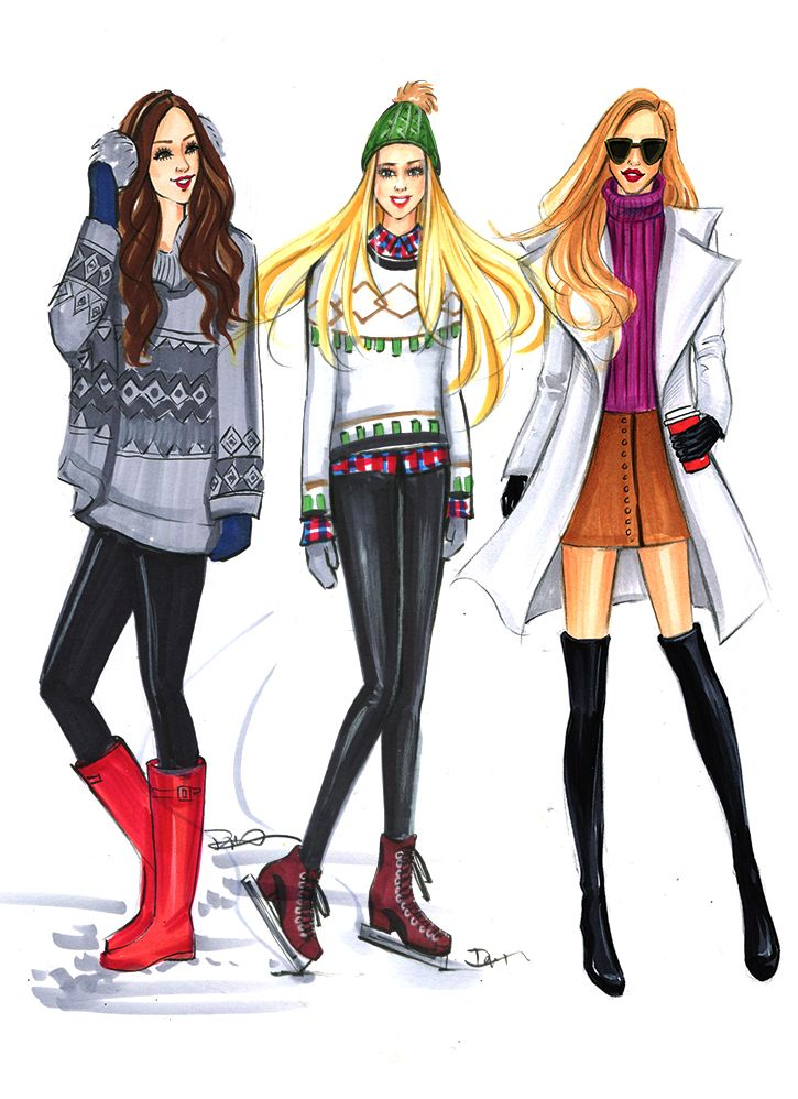 Winter fashion illustration by houston fashion illustrator rongrong devoe more on instagram Fashion solitaire winter style